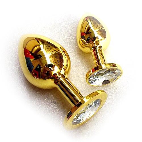 Анальная втулка золотая с белым кристаллом Golden plug large