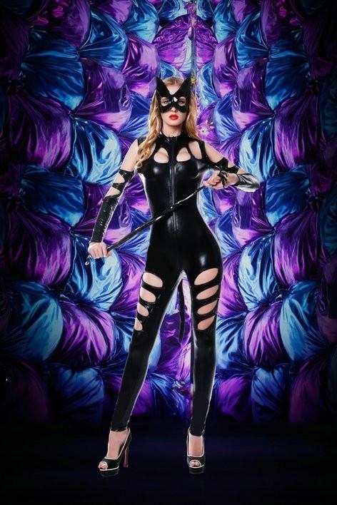 Эротичнский виниловый костюм для ролевых игр Игривая кошечка S/M черного цвета