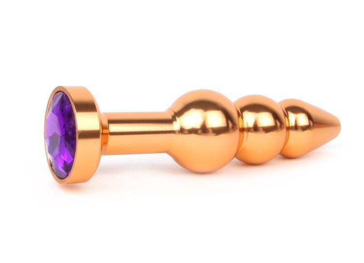 Анальная пробка золотая с фиолетовым кристаллом Anal Jewelry Plugs L 113 мм D 22x25x29 мм вес 100г