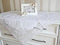 Скатерть белая ажурная 95 х 95 см.