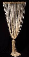 Шторы-нити с люрексом Золотая 285 грн