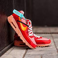 Мужские кроссовки Nike Air Max 90 x Off White Red (Найк Аир Макс 90)