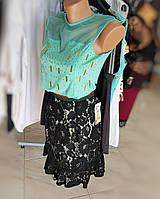 Юбка черная кружевная с шляркой и цветной резинкой