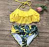 Купальник женский раздельный стильный модный топ с оборками и высокие трусы с листьями Kkmn205