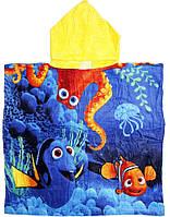 Детское пляжное полотенце пончо велюр-махра Морской