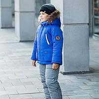 """Зимний комплект (куртка+полукомбинезон) на мальчика """"Джордж"""" с натуральным енотом, фото 1"""