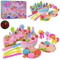 Музыкальный торт на липучках + 3 шт.лошадки,продукты,посудка,торт My little pony