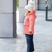 """Детский зимний комплект (куртка+полукомбинезон) для девочки """"Бусинка"""" на флисовой подкладке, фото 1"""
