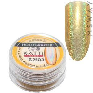 Втирка 52103 Holographic блестки голографика мелкие 0.05мм оранж золото 2г, фото 2