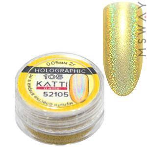 Втирка 52105 Holographic блестки голографика мелкие 0.05мм золото 2г, фото 2