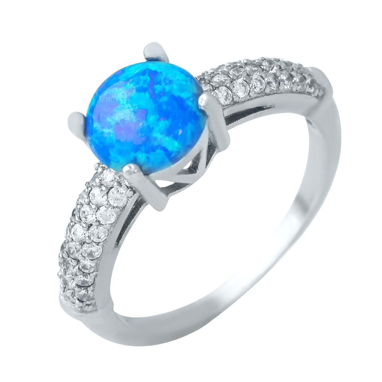 Родированное серебряное кольцо 925 пробы с опалом