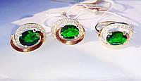 Кольцо и серьги с зеленым цирконом Валерия, фото 1