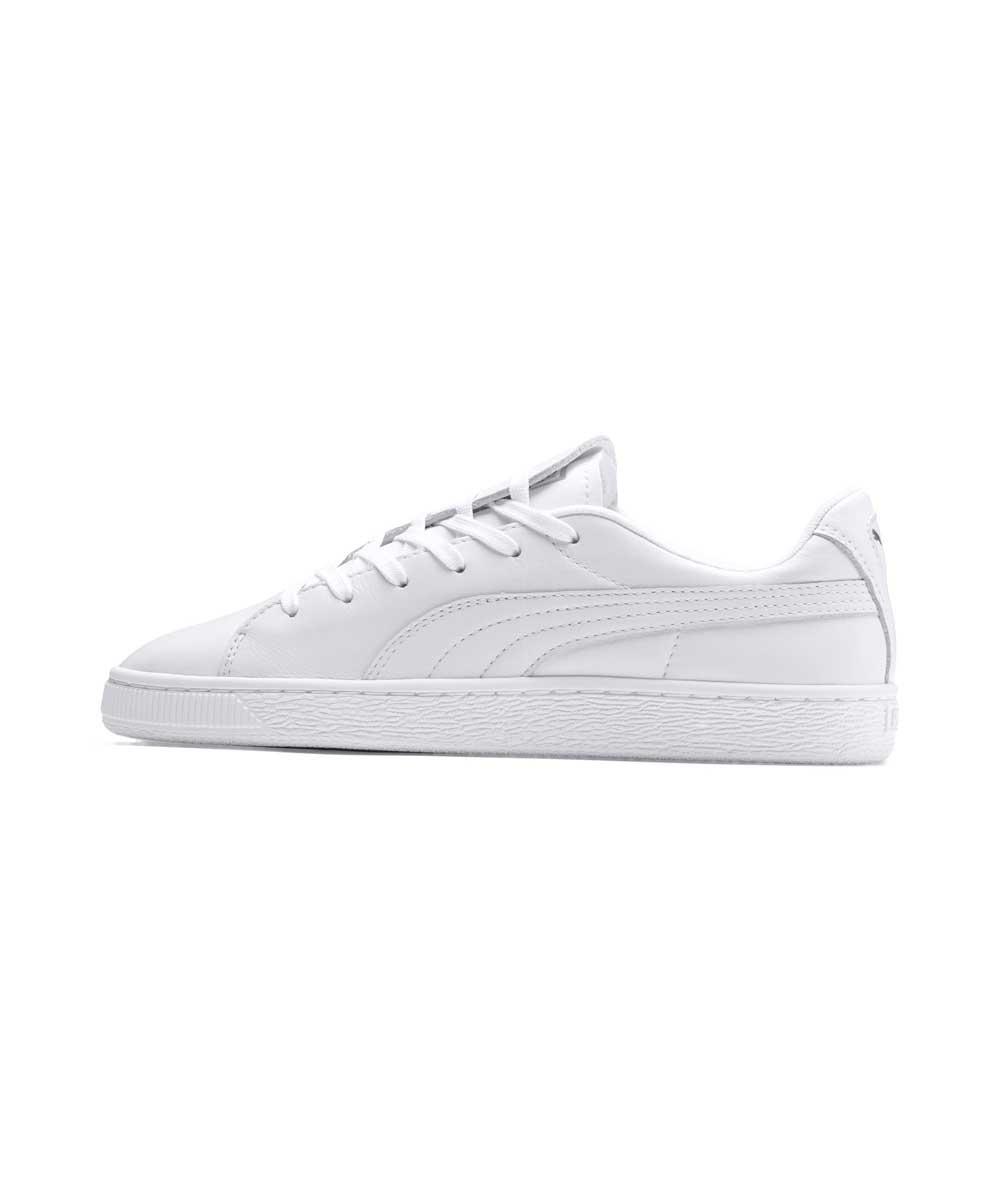 Белые женские кожаные кеды Puma Basket Crush Emboss Heart Women's Sneakers