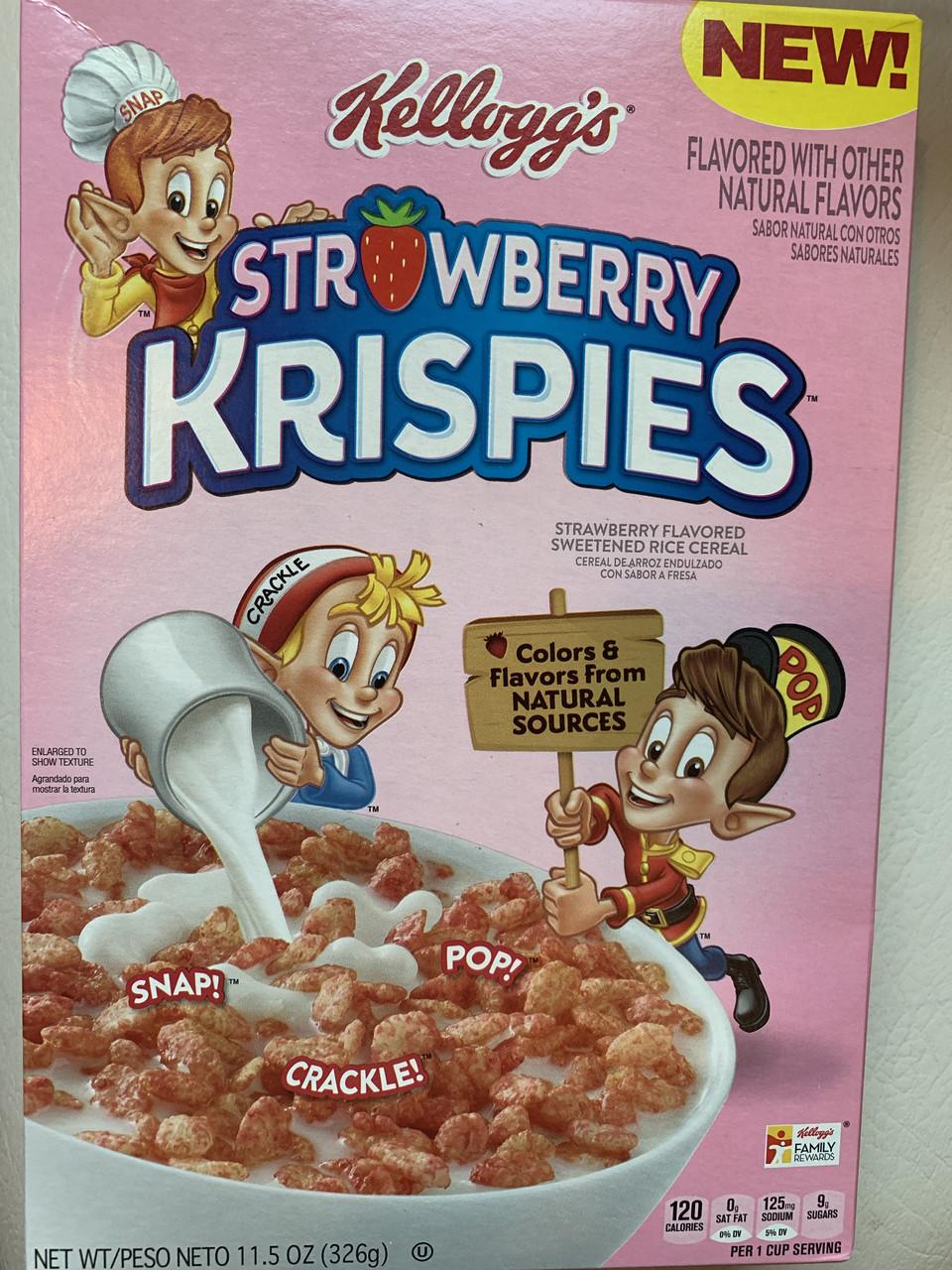 Сухой завтрак клубничные рисовые пафсы Kellogg's Rice Krispies