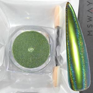 Втирка 20059 пигмент Color Призма зеленая оливка с купольным голограф. переливом 0.3г, фото 2