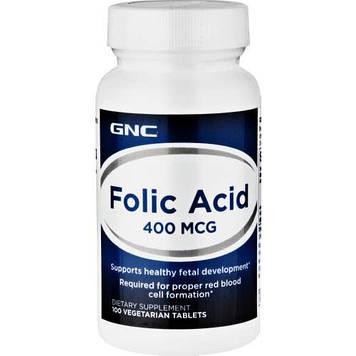 Фолиевая кислота Folic Acid 400 mkg (100 veg tabs) GNC