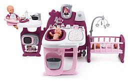 Центр для ухода за куклой с кухней, ванной и спальней Smoby Baby Nurse Прованс. Фуксия 3+ (220349)