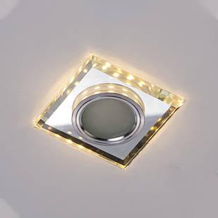 Точечный светильник со встроенной LED подсветкой теплый цвет под лампочку MR16 СветМира D-7128WH