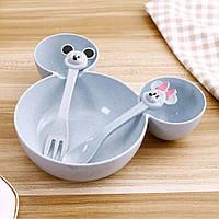 Набор детской посуды из пшеницы 3 предмета BoxShop Mickey Mouse синий (DP-4747)
