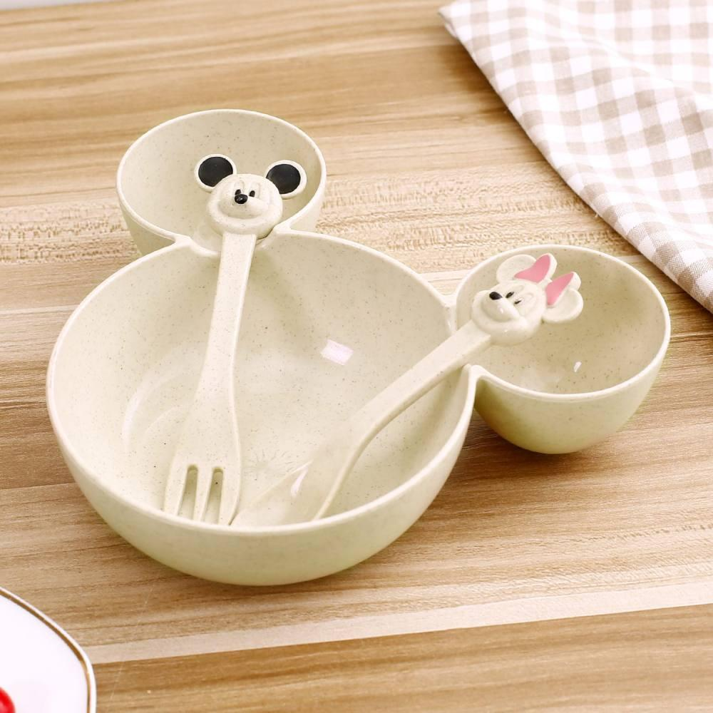Набор детской посуды из пшеницы 3 предмета BoxShop Mickey Mouse бежевый (DP-4744)