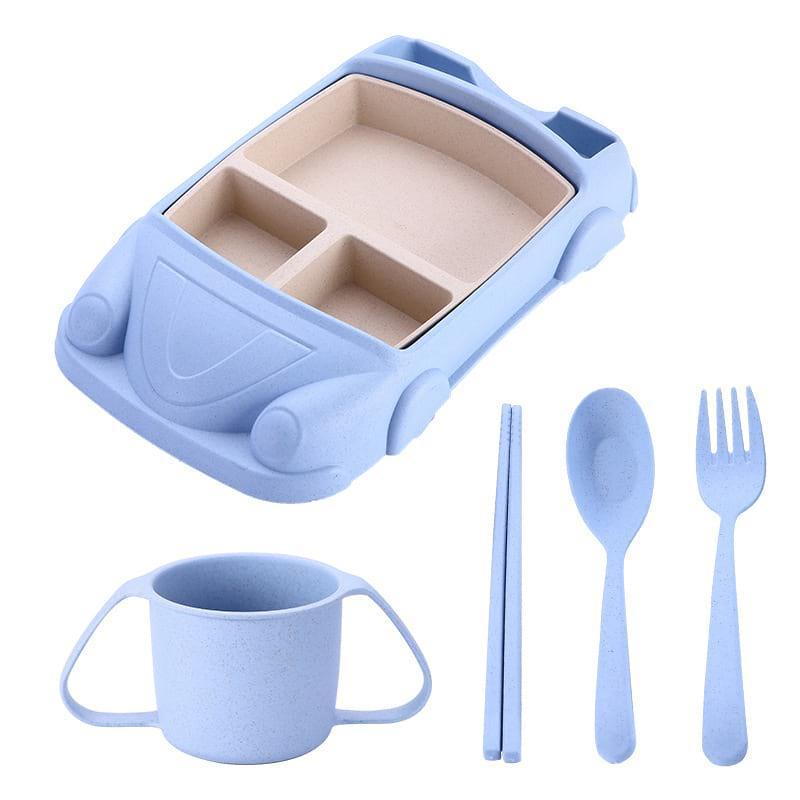Набор детской посуды из бамбука 7 предметов BoxShop Машинка синий (DP-4703), фото 1