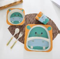 Набор детской посуды из бамбука 5 предметов BoxShop Бегемотик (DP-4692)