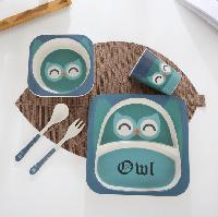Набор детской посуды из бамбука 5 предметов BoxShop Совушка синий (DP-4661), фото 1