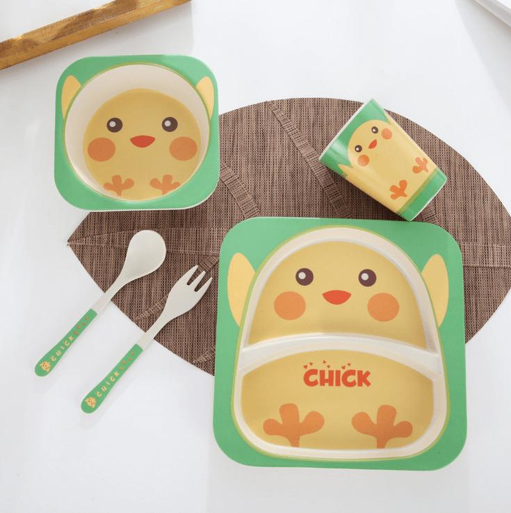Набор детской посуды из бамбука 5 предметов BoxShop Цыплёнок (DP-4568)