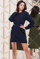 Платье летнее двухцветное со шлейфом сзади длиннее мини выше колена с поясом с карманами Цвет : Хаки + Синий Размер : 42 44 46 Материал : Софт k-51928