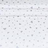 """Лоскут ткани с глиттерным рисунком """"Сердца разных размеров"""" серебристые на белом №2074, фото 2"""