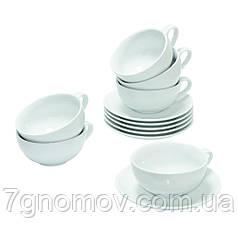 Чайный набор на 6 белых чашек с блюдцами ХОРЕКА по 250 мл Bailey Delicacy