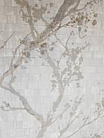 Виниловые  обои на флизелиновой основе Decoprint  Nubia  NU19112 серые ветки листья кремовые и коричневые, фото 1
