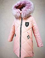 Зимнее пальто для девочек рост 107-128