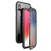 Магнитный чехол двусторонний для  iPhone X,8,8+,7,7+,6,6s,6+,6s+ черный, белый, красный, стеклянный прозрачный Черный