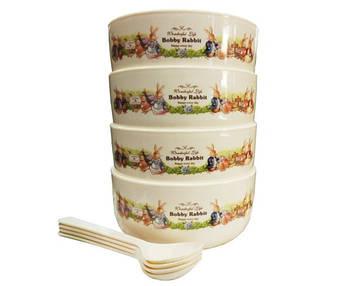 Набір дитячих тарілок з ложечками Bobby Rabbit 12,4х5,7см