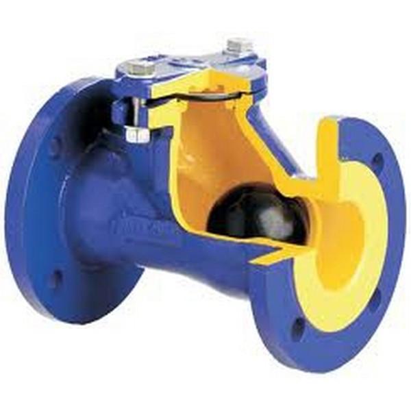 Клапан обратный чугунный фланцевый канализационный шаровый 400В ZETKAMA Ру10 Ду65