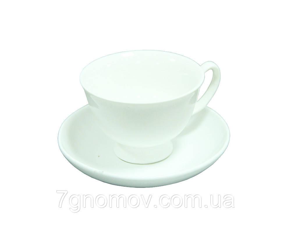 Чайный набор на 6 белых чашек ХОРЕКА Bailey Elegance по 250 мл