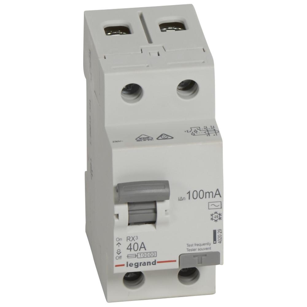 RX³ Диференційне Реле 100mA 40А 2п AC