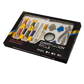 Набор инструментов Yaxun YA-821C Отвёртки 3 медиатора, 2 пинцета, кусачки, ножницы, лупа, лопатка,щеточка