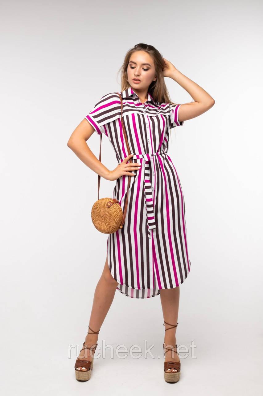 Платье-рубашка в разноцветную полоску под поясок на пуговицах размеры 42 - 52 ТМ Nui Very