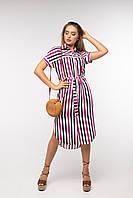 Платье-рубашка в разноцветную полоску под поясок на пуговицах размеры 42 - 52 ТМ Nui Very, фото 1