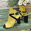 Женские кожаные босоножки на высоком устойчивом каблуке, цвет желтый/черный, фото 2