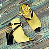 Женские кожаные босоножки на высоком устойчивом каблуке, цвет желтый/черный, фото 3