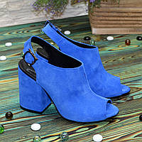 Женские замшевые босоножки на устойчивом каблуке, цвет электрик