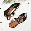 Жіночі шкіряні чорні босоніжки на стійкій танкетці, фото 3