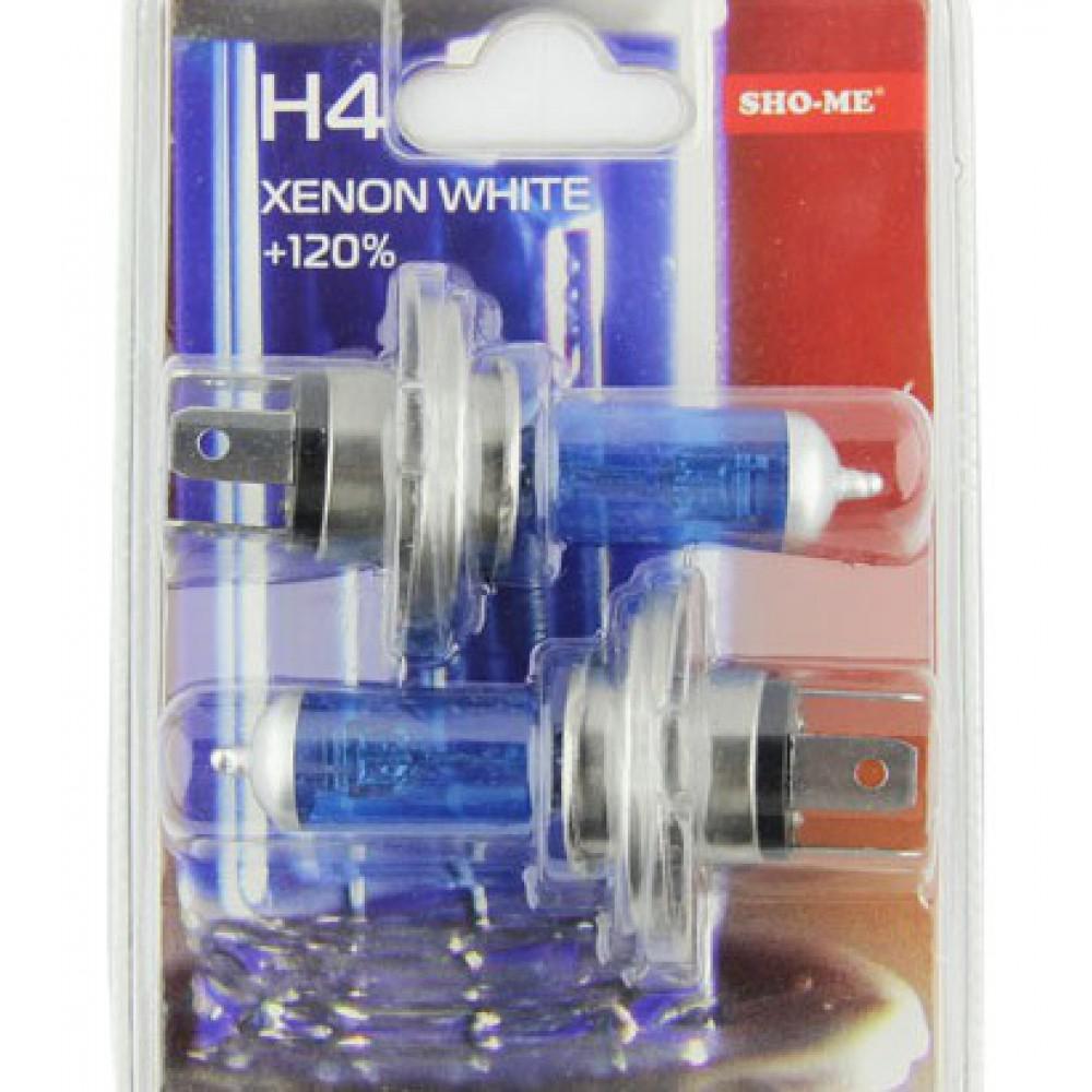 Лампа галогеновая H4 Sho-Me 4300К +120%