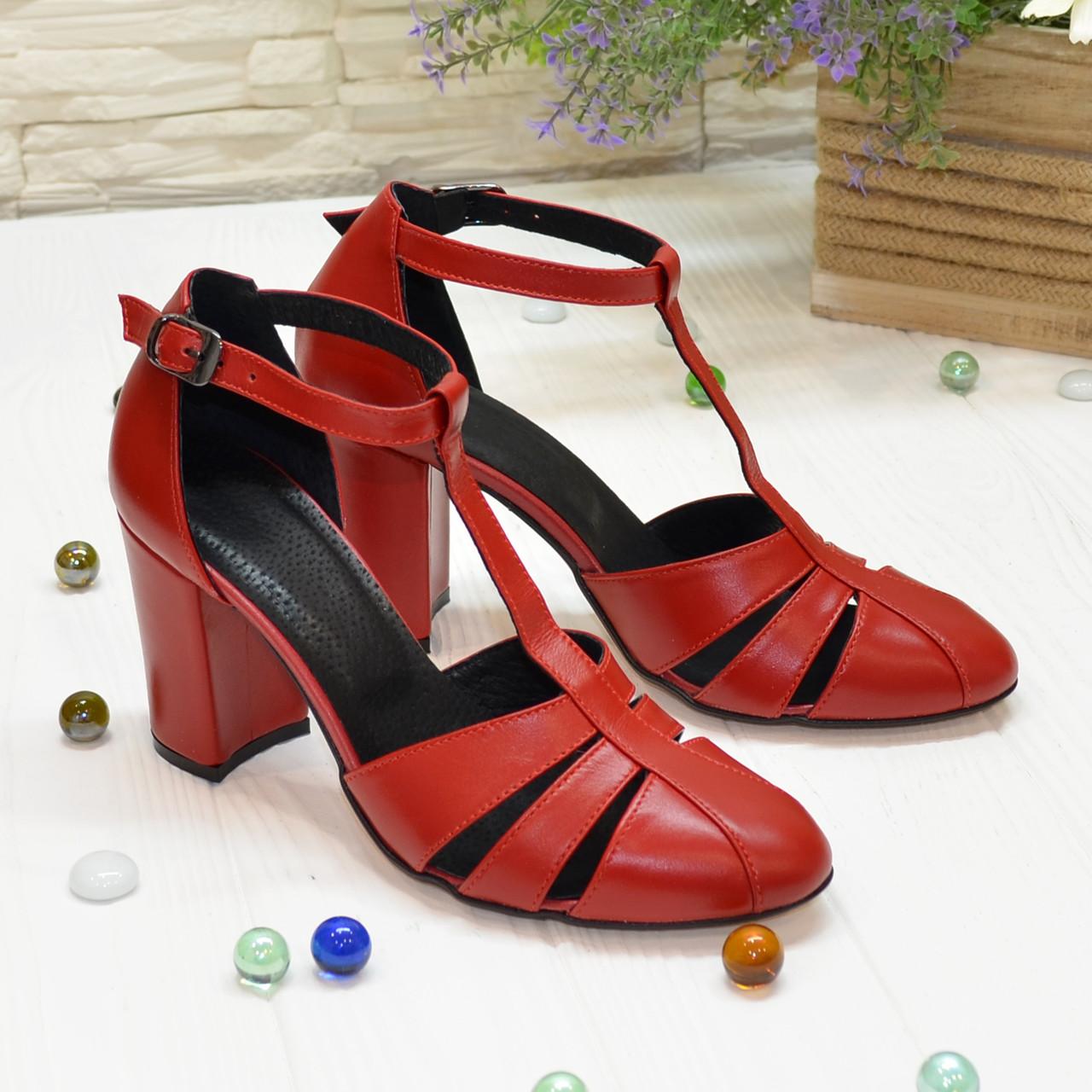 Босоножки женские красные кожаные на высоком устойчивом каблуке