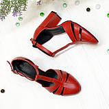 Босоножки женские красные кожаные на высоком устойчивом каблуке, фото 3