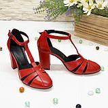 Босоножки женские красные кожаные на высоком устойчивом каблуке, фото 4