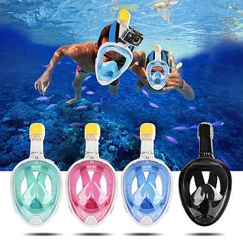 Маска для снорклінга, підводного плавання і пірнання S/M, Чорний